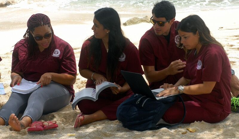 Students on beach