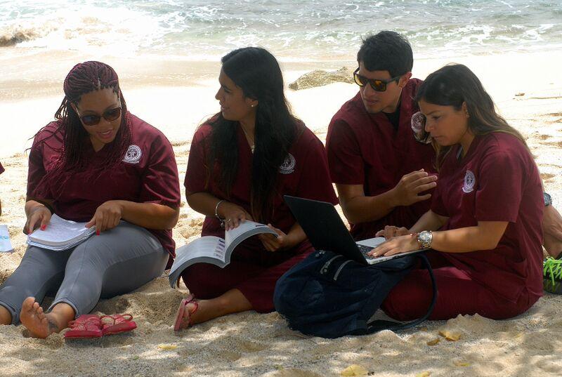 Students on beach